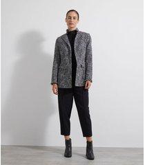 blazer alfaiataria alongado tweed