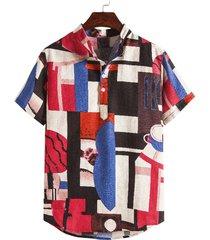 camisa de playa de hawaii con estampado geométrico multicolor de bloque de color informal de verano para hombre