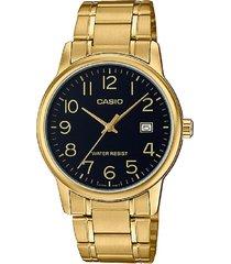 reloj casio mtp-v002g-1b análogo dorado para hombre
