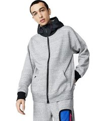 sweater converse mixed media full-zip hoodie