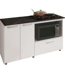 balcão p/ cooktop e microondas branco completa móveis