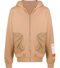 heron preston multi-pocket zip-up hoodie - neutrals