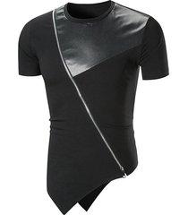 camiseta de verano para hombre tops con diseño de cremallera diagonal