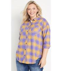 maurices plus size womens purple & gold plaid oversized button down shirt