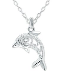 "giani bernini dolphin 18"" pendant necklace in sterling silver, created for macy's"