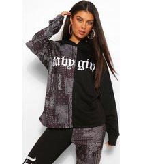 bandana colour block hoodie met tekst, zwart