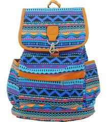 mochila real arte saco azul e laranja