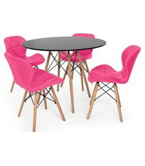 kit mesa jantar eiffel 90cm preta + 04 cadeiras slim - rosa