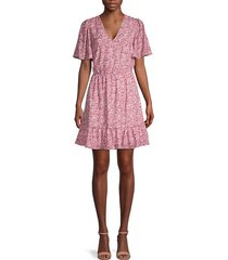 sorcha printed flutter-sleeve dress
