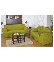 kit capa protetora sofá 3 e 2 lug 21 elásticos malha gel pistache