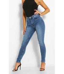 high waist vintage wash stretch skinny jeans, mid blue