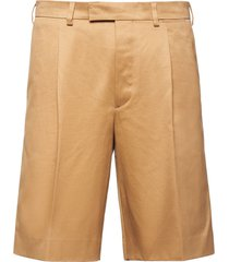 prada pleated front bermuda shorts - neutrals