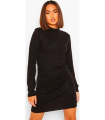 button shoulder detail knitted dress, black