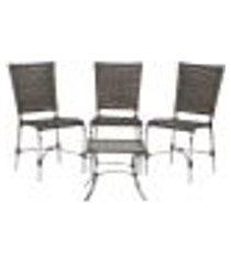 jogo cadeiras 3un e mesa de centro romenia para edicula jardim area varanda descanso - pedra ferro