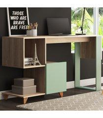 mesa escrivaninha aurora 1 porta 1 nicho aveiro/verde - bentec