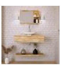 conjunto para banheiro bancada com cuba l45 canoa, prateleira e espelheira city 806 carvalho