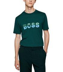 boss men's logo-artwork regular-fit t-shirt