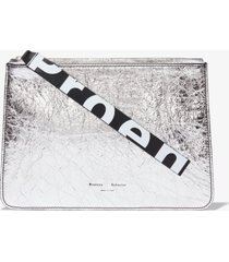 proenza schouler metallic medium pouch silver one size
