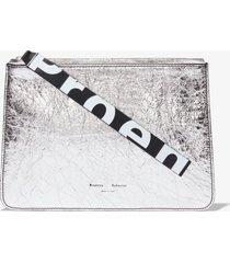 proenza schouler metallic medium pouch silver one size