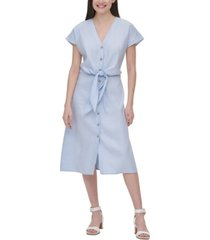 calvin klein tie-waist linen dress