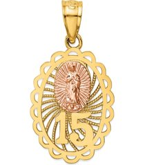 """15"" our lady of guadeloupe two-tone charm pendant in 14k yellow & rose gold"