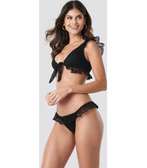 trendyol lace detailed bikini bottom - black
