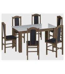 conjunto mesa fixa 6 cadeiras marrom móveis cançáo