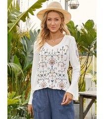 camicetta casual da donna a maniche lunghe con scollo a v con stampa floreale vintage