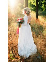 scoop open back a line long sleeves sweep train long white lace wedding dress
