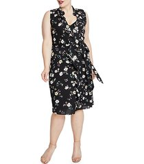plus brit ruffled floral dress