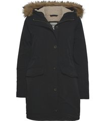anf womens outerwear parka lange jas jas zwart abercrombie & fitch