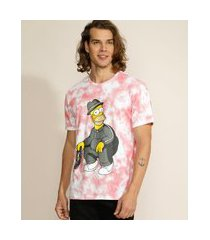 camiseta masculina homer simpson estampado tie dye manga curta gola careca rosa escuro