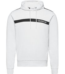 bold stripe logo hoodie hoodie trui wit calvin klein
