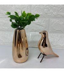 enfeite decorativo pã¡ssaro metalizado e vaso rose gold - ros㪠- feminino - dafiti