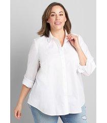 lane bryant women's button-front boyfriend shirt 10/12 white