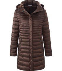 doorgestikte jas met staande kraag en capuchon van mybc bruin