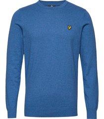 cotton merino crew jumper gebreide trui met ronde kraag blauw lyle & scott