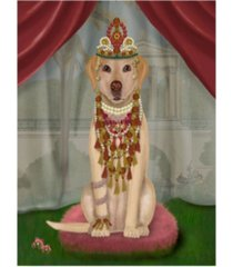 "fab funky yellow labrador and tiara, full canvas art - 27"" x 33.5"""