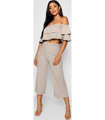 strapless top met 2 lagen en culotte set, grijs