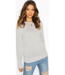 tall soft knit sweater, silver