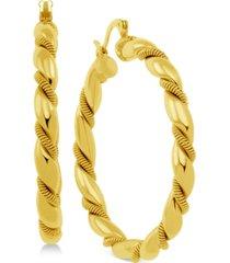 essentials twisted hoop in fine silver plate earrings