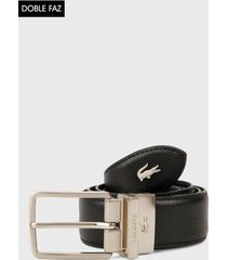 cinturón doble faz negro-plateado lacoste