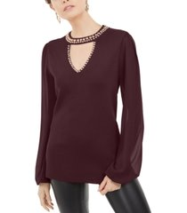 inc studded keyhole sweater, created for macy's