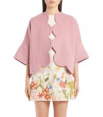 women's valentino scallop cashmere cape jacket, size 8 us - pink