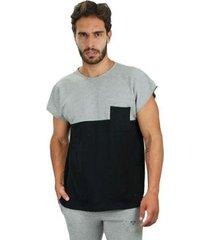 camiseta piquet brohood force preto e cinza g - masculino