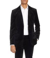 men's frame slim fit stretch velvet blazer, size x-large - black