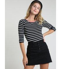 blusa feminina listrada em tricô manga longa decote redondo preta