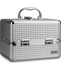 maleta de maquiagem cisne alumínio reforçada 4 bandejas prata - kanui