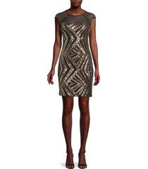 guess women's sequin chevron mini sheath dress - gold black - size 4