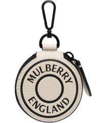 mulberry round logo pouch - white